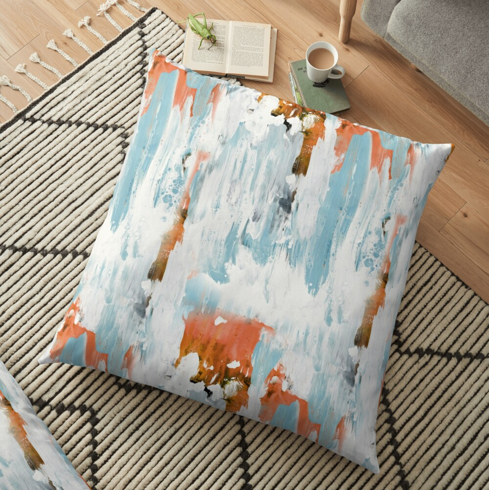 New dawn white & bright - fluid painting pouring image in white, orange and sky blue Floor Pillow