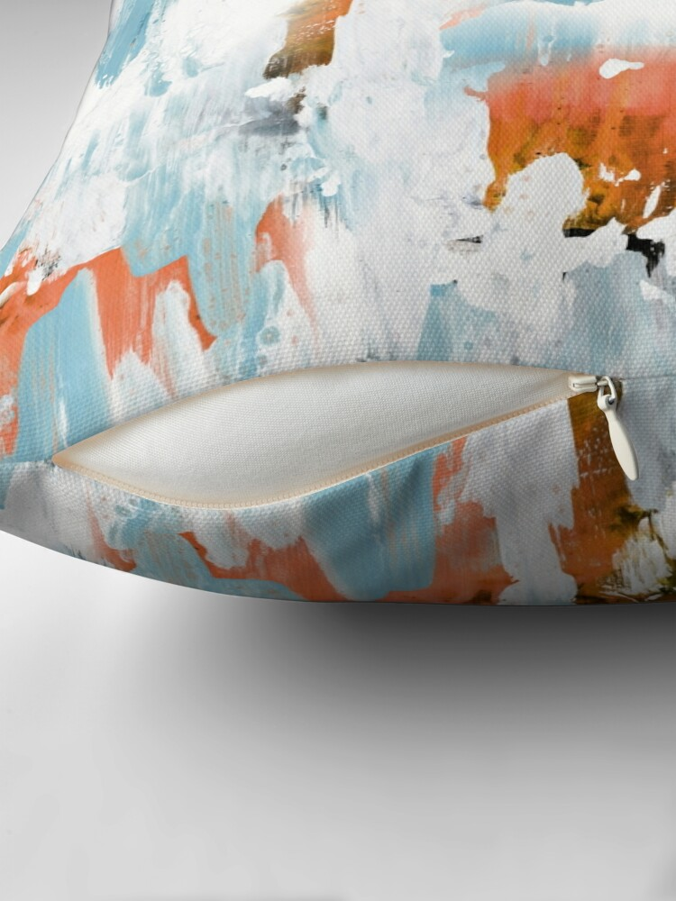 Alternate view of New dawn white & bright - fluid painting pouring image in white, orange and sky blue Floor Pillow