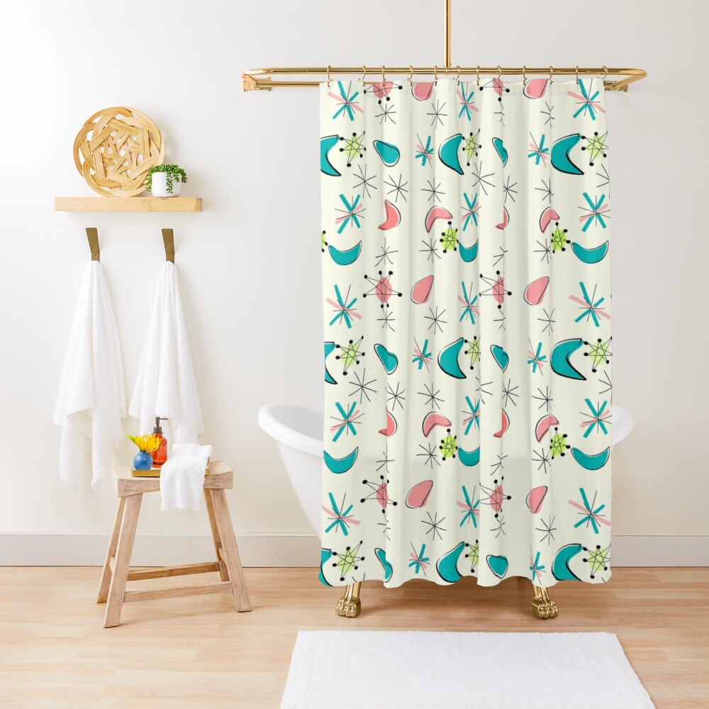 Mid Century Atomic Age Inspired Shower Curtain