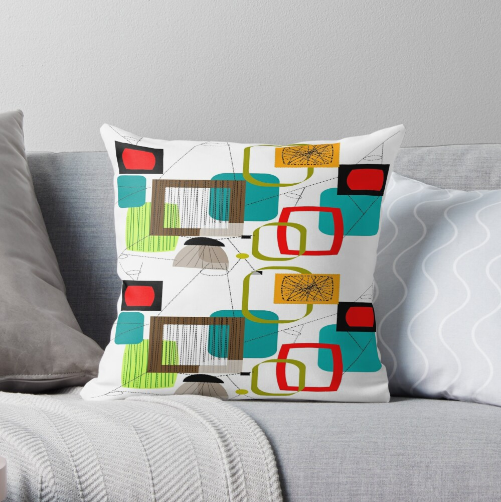 Mid Century Atomic Age Inspired Abstract Throw Pillow