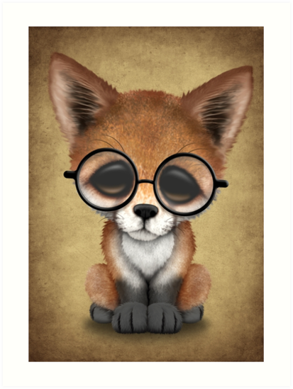 """Cute Red Fox Cub Wearing Glasses "" Art Prints by jeff ..."