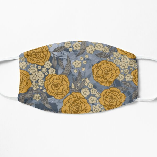 Yellow Roses on Blue Leaves Mask