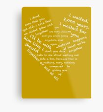Quotes of the Heart - Amy/Rory (White) Metal Print