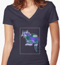 Otter Mauve Green E Women's Fitted V-Neck T-Shirt