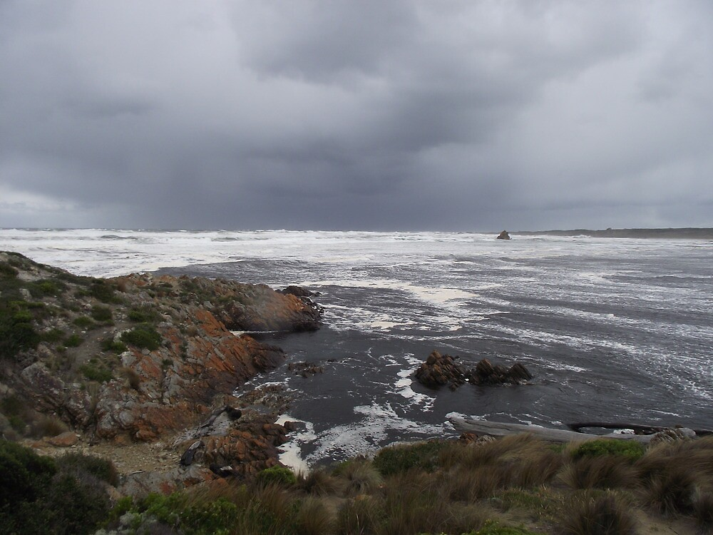 stormy Arthur River mouth by gaylene