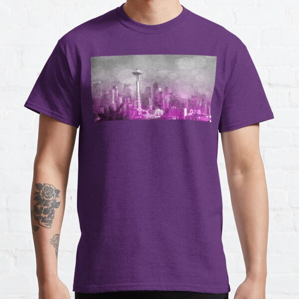 Pink and Grey Bokeh Seattle Skyline Classic T-Shirt