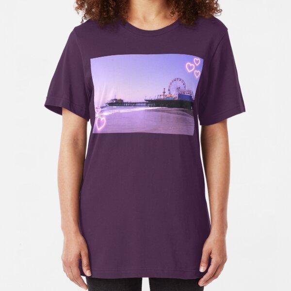 Santa Monica Pier Purple Hearts Slim Fit T-Shirt