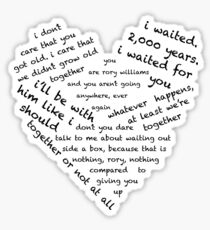 Quotes of the Heart - Amy/Rory (Black) Sticker