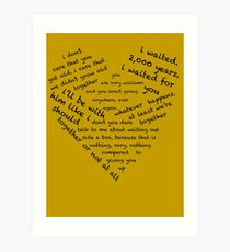 Quotes of the Heart - Amy/Rory (Black) Art Print
