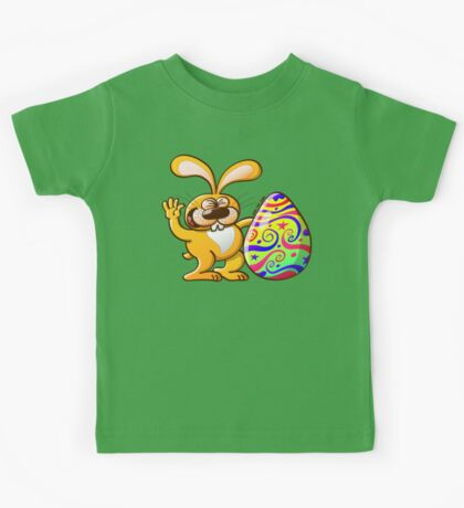 Easter Bunny Proud of his Big Decorated Egg Kids Clothes