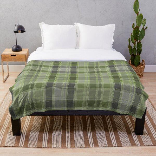 Gray and green tartan plaid. Throw Blanket
