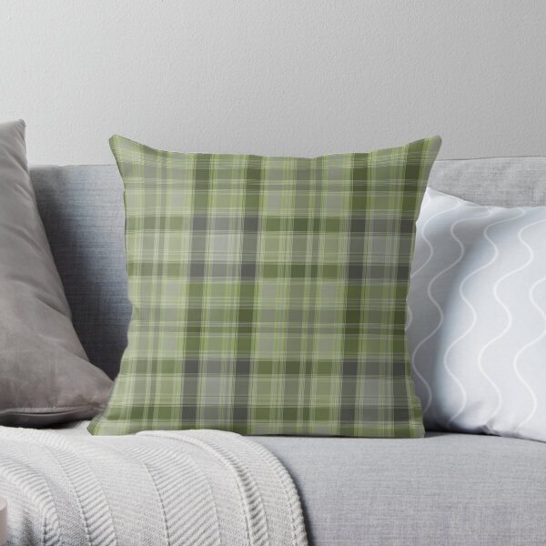 Gray and green tartan plaid. Throw Pillow