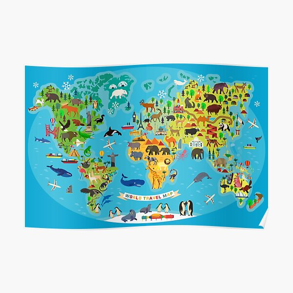 World Map With Animals Poster