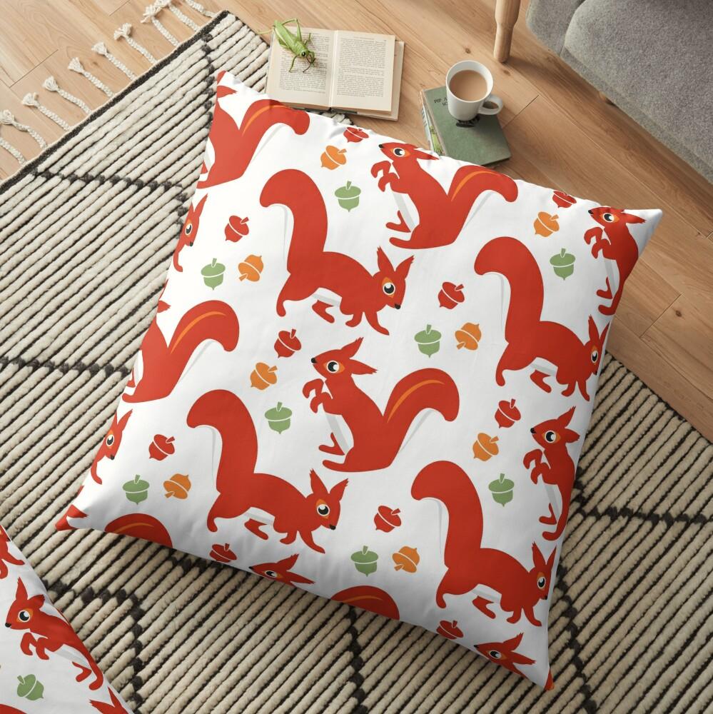 Red Squirrel Playground Floor Pillow