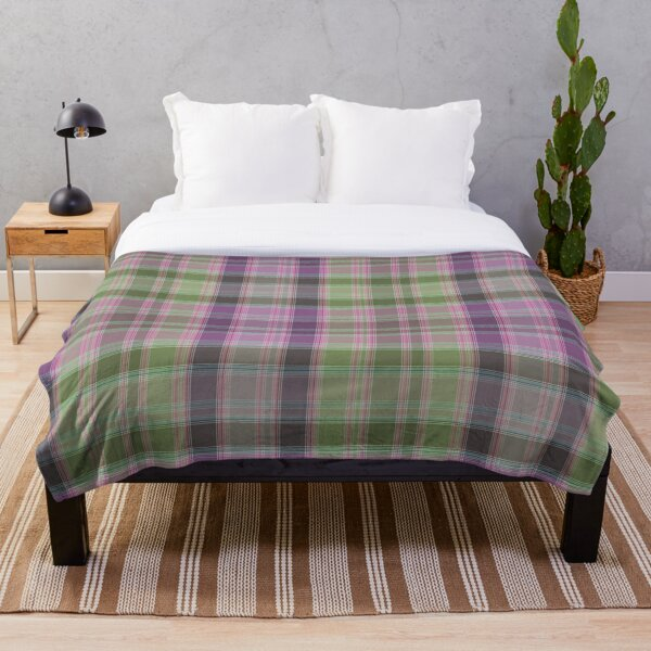 Green and lilac tartan plaid. Throw Blanket