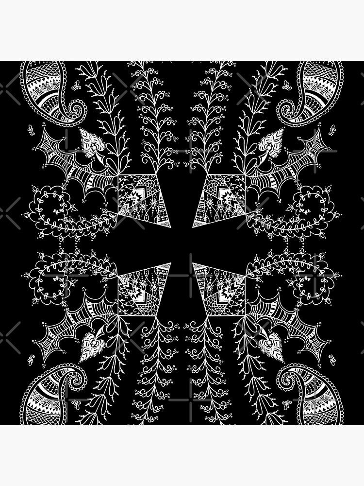 Henna Garden | Abstract Geometric Pattern Black by Art-by-ANS