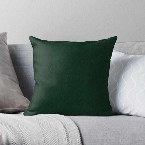 Textured dark green, solid green Throw Pillow