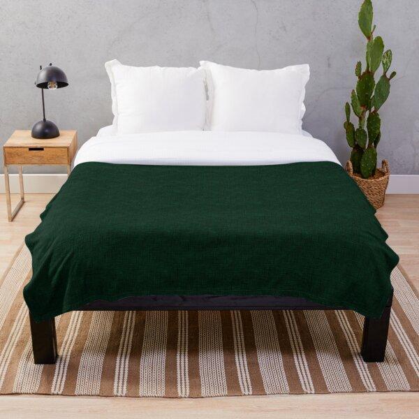 Textured dark green, solid green Throw Blanket