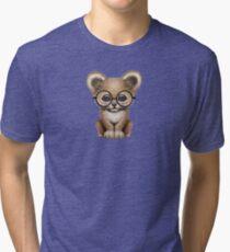 Cute Baby Lion Cub Wearing Glasses  Tri-blend T-Shirt