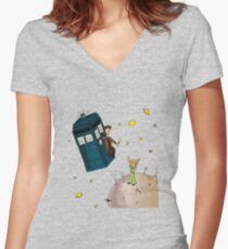 doctor who meets the little princes Women's Fitted V-Neck T-Shirt