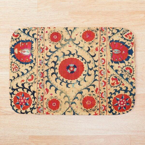 Samarkand Suzani Bokhara Uzbekistan Floral Embroidery Print Bath Mat