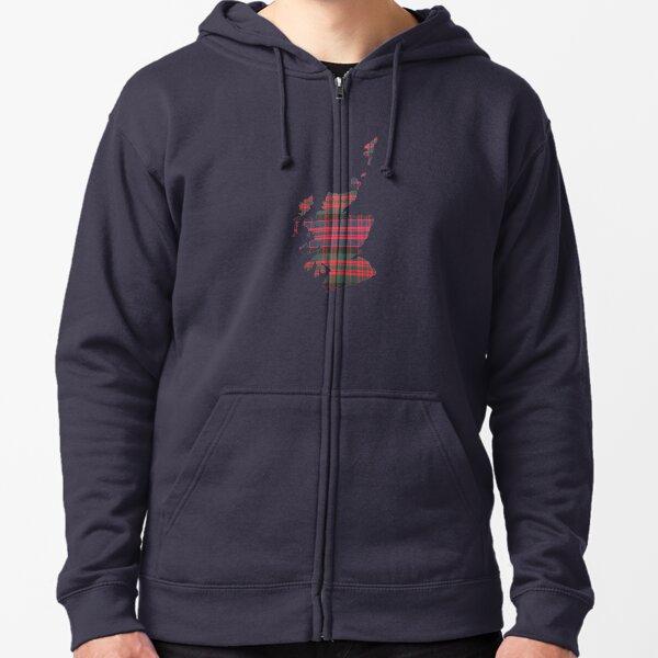 Outline of Scotland in MacDonald Tartan Zipped Hoodie