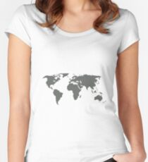 Gray World Map Women's Fitted Scoop T-Shirt