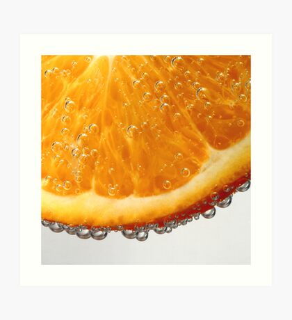 Orange in bubbles Art Print