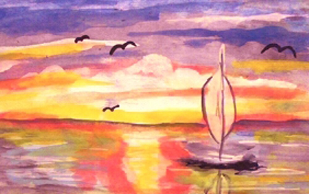Lovely day to go sailing, watercolor by Anna  Lewis, blind artist