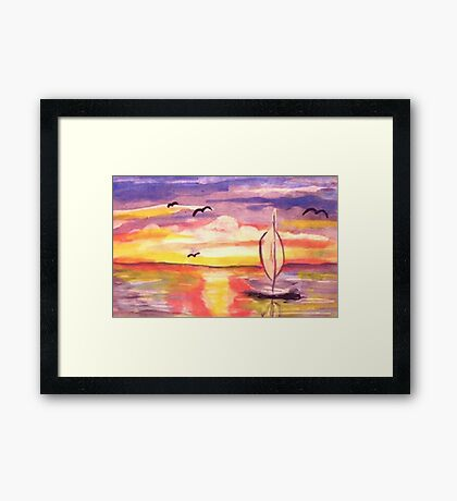 Lovely day to go sailing, watercolor Framed Print