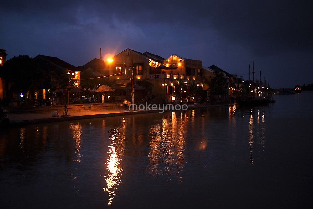 Thu Bon River By Night by mokeymoo