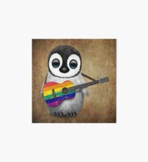 Baby Penguin Playing Gay Pride Rainbow Flag Guitar Art Board
