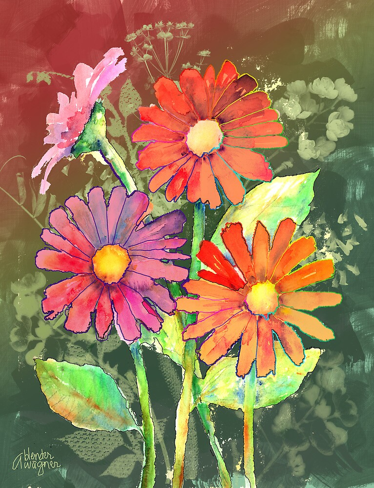 Vibrant Flowers by arline wagner