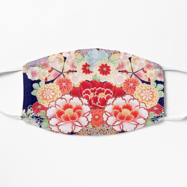 ANTIQUE JAPANESE FLOWERS Pink White Wild Roses Kimono Style Floral Mask