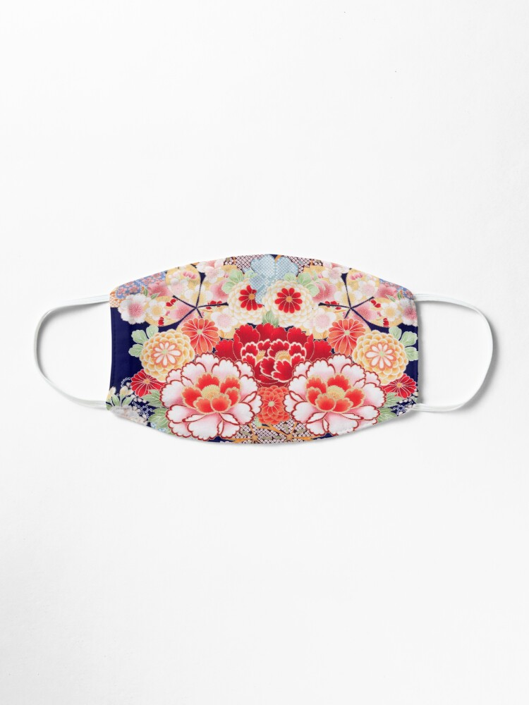 Alternate view of ANTIQUE JAPANESE FLOWERS Pink White Wild Roses Kimono Style Floral Mask