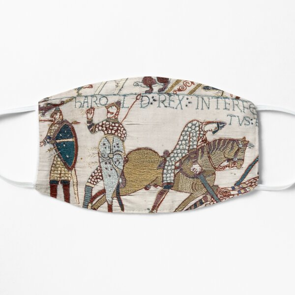 Bayeux Tapestry. King Harold is killed. Arrow in eye. Mask