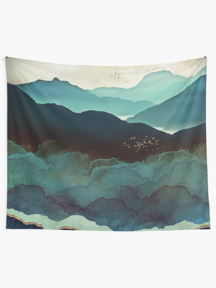 Alternate view of Indigo Mountains Tapestry