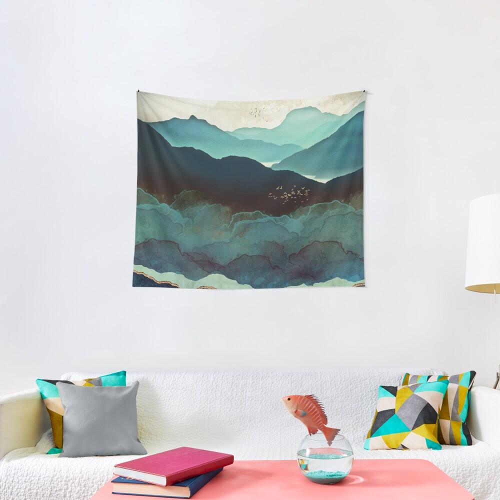 Indigo Mountains Tapestry