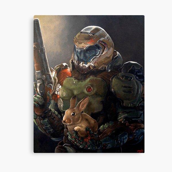 Doom Slayer with bunny  Canvas Print