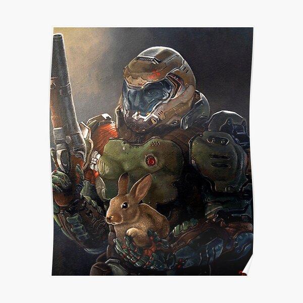 Doom Slayer avec lapin Poster
