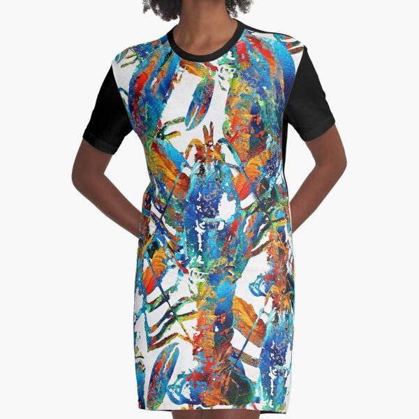 Colorful Lobster Collage Art - Sharon Cummings Graphic T-Shirt Dress
