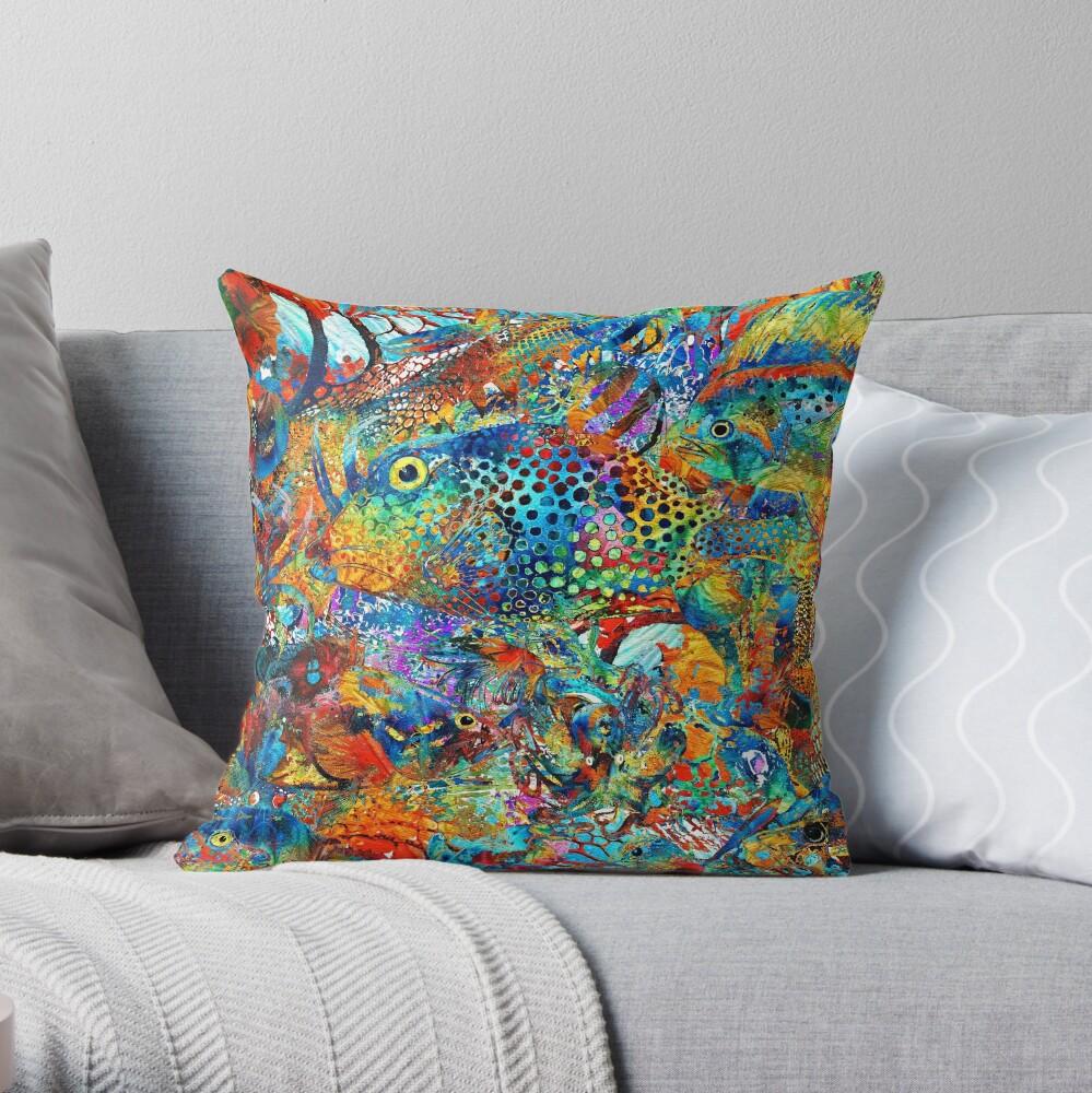 Tropical Beach Art - Under The Sea - Sharon Cummings Throw Pillow