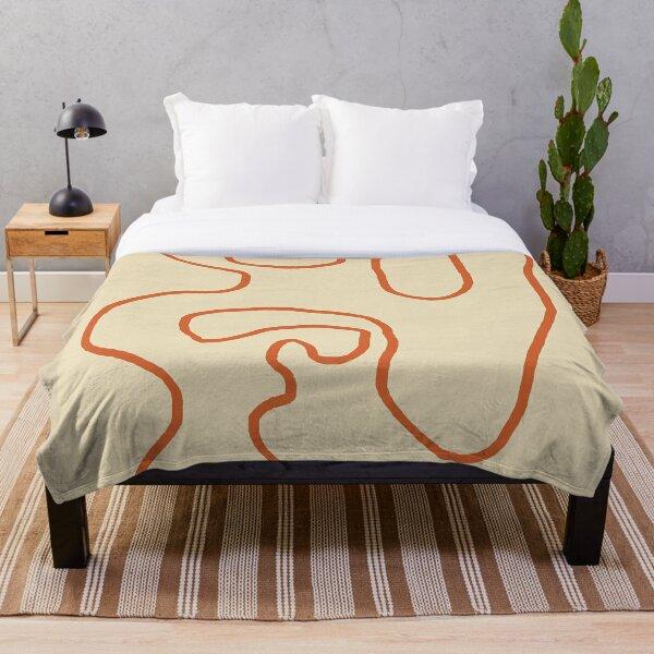 Abstract Line Art 1 (Terracotta) Throw Blanket