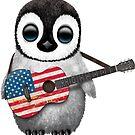 Baby-Pinguin, der Flagge-Gitarre spielt von jeff bartels
