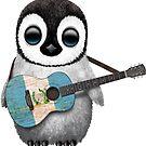 Baby Penguin Playing Guatemalan Flag Guitar von jeff bartels