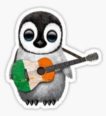Baby Penguin Playing Irish Flag Guitar Sticker