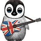 Baby-Pinguin, der britische Flaggen-Gitarre spielt von jeff bartels