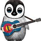 Baby-Pinguin, der Colorado-Flaggen-Gitarre spielt von jeff bartels