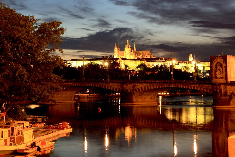 Prague Castle at Night. View 7 by Anatoly Lerner