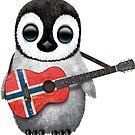 Baby-Pinguin, der norwegische Flaggen-Gitarre spielt von jeff bartels
